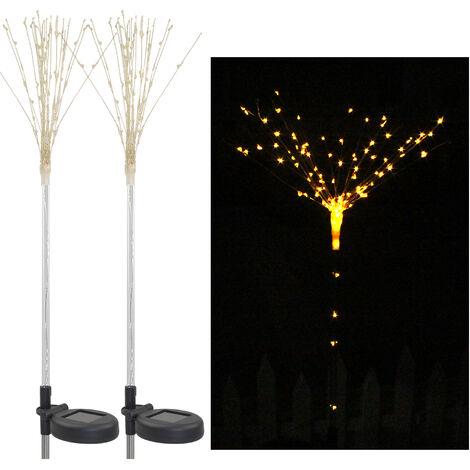 2pcs solar changeable shape firework light, garden decoration tree light, all-in-one warm white