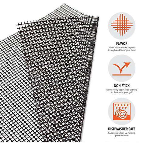 BBQ Grill Mat Non Stick Mesh with Holes Heavy Duty Reusable Dishwasher Safe Mesh Fireproof Topper Pad Easy Clean and Easy Use on Gas Charcoal Electric Grill,model:Black