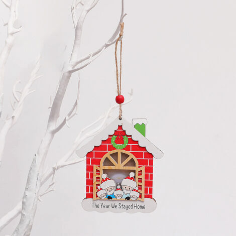 Christmas Tree Decoration Wooden House Glow Ornament Survived Family Christmas Hanging Ornament Home Decor,model: Window style