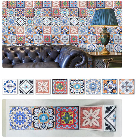 1PC Self Adhesive Retro Tile Stickers Waterproof PVC Removable Wall Stickers Decals DIY Wallpapers for Kitchen Bathroom Home Tidy Protection,model:Multicolor 8