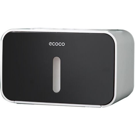 ecoco No Drilling Wall Mounted Paper Roll Tissue Box Waterproof Toilet Paper Holder Dispenser for Hotel Restaurant Home Bathroom,model:Black