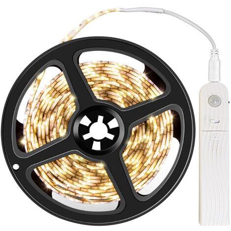 Warm White LED Strip Light 3.28ft 3000K Warm White Tape Light with Motion Sensor Dimmable Ribbon Light Waterproof Flexible Undercabinet Tape Lighting Rope Lighting for Home Kitchen Under Cabinet Bedroom,model:White Warm White & 3.28ft & Internal Battery