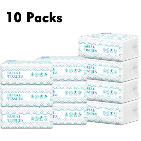 10 Packs Facial Tissues Thickening Strong Water Absorption Eco-Friendly Recycled Paper Home Use Soft Virgin Wood Pulp,model:White