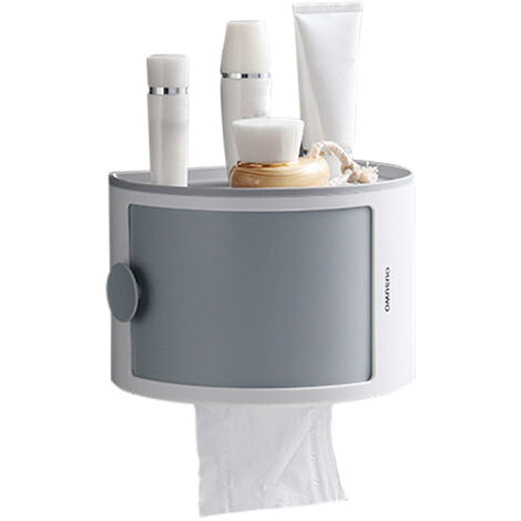 Desktop Paper Towel Dispenser with Storage Shelf Wall Mounted Paper Towel Holder Dispenser Self Adhesive Toilet Tissue Garbage Bags Dispenser Paper Extraction Dispenser for Kitchen Bathroom,model:Grey