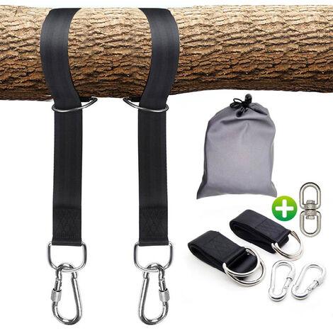 2 Swing Hanging Strap Swing Strap Long Strap Strap with Safe Lock Hammock Strap Carabiner Hooks,model:Black