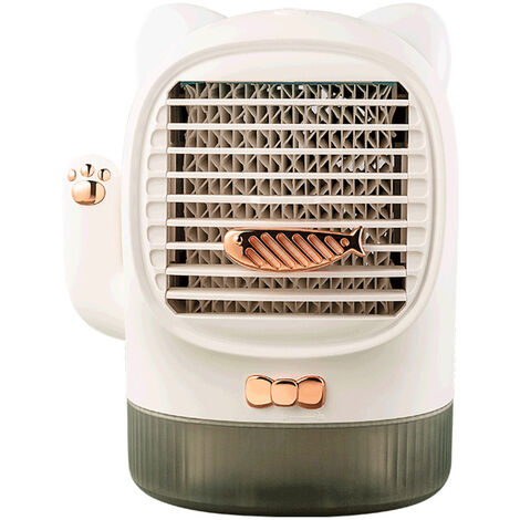 Mini Air Conditioner Fan Portable Table Lucky Cat Water Cooling Fan with Aroma Night Light Speeds for Home Office,model: 02