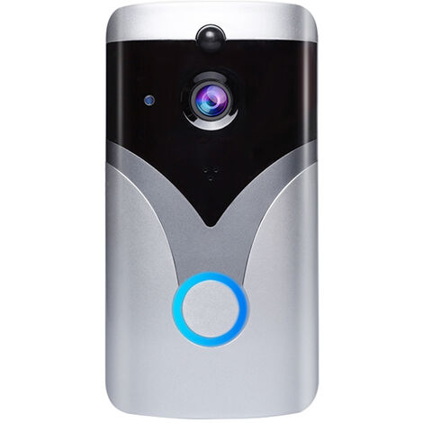 Smart WiFi Video Doorbell Camera 720P Wireless Doorbell Camera with PIR Motion Detection Night Vision 2-Way Audio Cordless Install Smart APP Compatible with iOS/Android,model:Silver