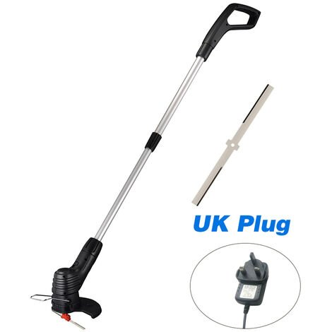 Cordless Electric Lawn Mower Handheld Portable Lightweight Mowing Machine Trimmer Rechargeable Electric Mower Weed Eater,model: UK Plug