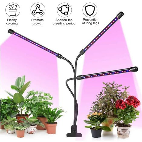3-Head Grow Light Adjustable Arm 60 LED Light Bulb Plant Growing Lamps with Auto ON/Off 3/6/12H Intelligent Timing 10 Levels Brightness for Indoor Plants,model:Black