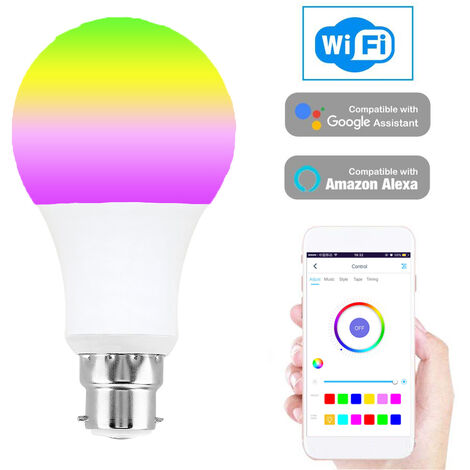 Smart WIFI LED Bulb WIFI Light RGB Multicolor LED Bulb 7W B22 Dimmable Light Phone Remote Control Compatible with Alexa Google Home Tmall Genie Voice Control Cold & Warm Light Bulb,model:White B22