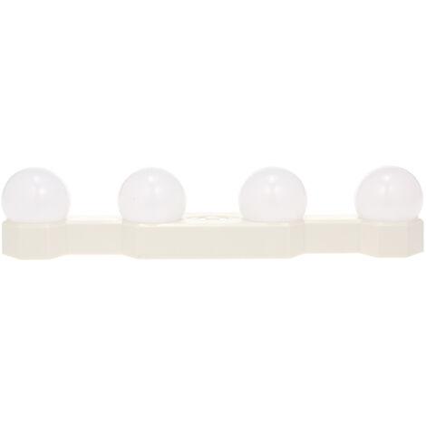 4 Bulb LED Mirror Lights USB Rechargeable Cordless Vanity Makeup Lights Brightness Color temperature Adjustable,model:White
