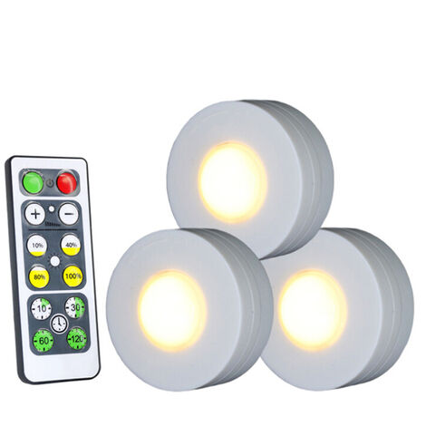 LED Under Cabinet Lamp Puck Light with Remote Control Brightness Adjustable Dimmable Timing for Cloakroom Cupboard Wardrobe Kitchen Kids Gifts Waterproof,model: 1