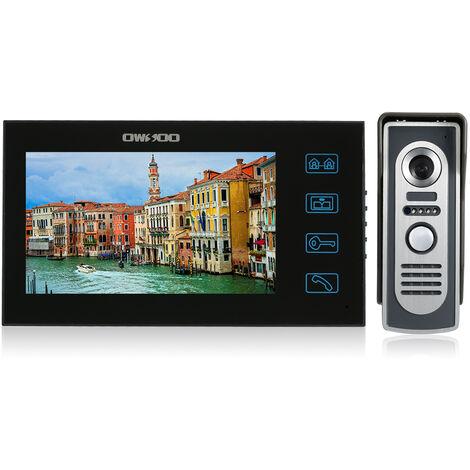 OWSOO 7-inch Color Video Door Phone Doorbell Intercom Kit Touch Screen Waterproof Outdoor Camera Indoor Monitor Night Vision Home Security,model: UK Plug