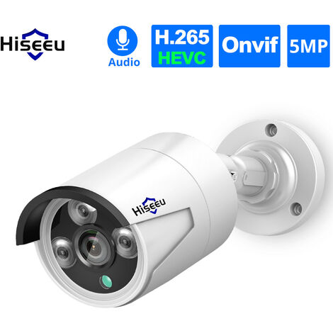 5MP Super High Definition POE Security Camera with Audio Night Vision Motion Detection Remote Access IP66 Waterproof,model:White