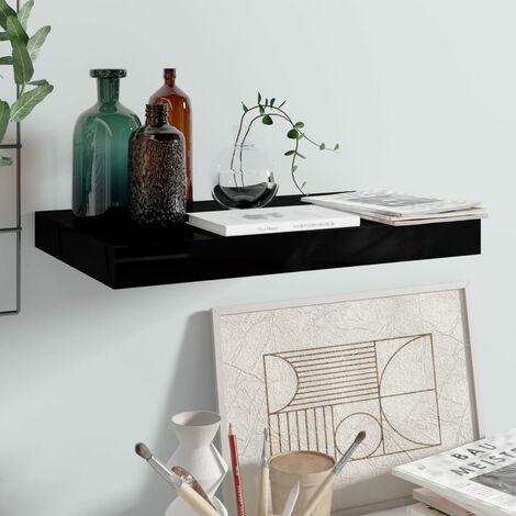 Floating Wall Shelf High Gloss Black 40x23x3.8 cm MDF