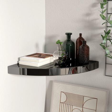 Floating Corner Shelf High Gloss Black 35x35x3.8 cm MDF