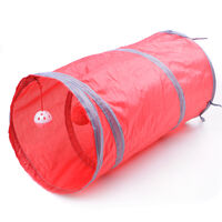 Cat Tunnel Interactive Play Toy with Ringbell Ball Red