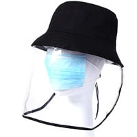 Protective Dustproof Hat with Transparent Face Shield Cover Men Women Full Face Hat for Camping Hiking Fishing Travel