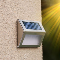 Solar Powered Staircase Step Light 2-LED Wireless Stainless Steel Stairways Path Garden Floor Wall Patio Lamp White Pack of 8