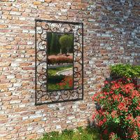 Garden Wall Mirror Rectangular 50x80 cm Black