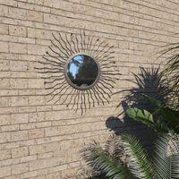 Garden Wall Mirror Sunburst 60 cm Black