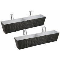 Balcony Trapezoid Rattan Planter Set 80 cm 2 pcs Black