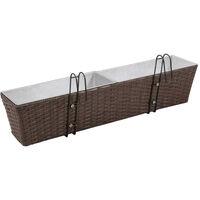 Balcony Trapezoid Rattan Planter Set 80 cm 2 pcs Brown