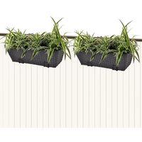Balcony Trapezoid Rattan Planter Set 50 cm 2 pcs Black