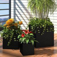 Garden Planters 3 pcs Poly Rattan Black