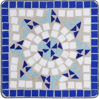Mosaic Side Table Blue and White Ceramic