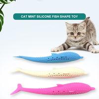Cat Catnip Toys Fish Shape Toothbrush with Catnip Silicone Molar Stick