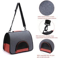 Portable Pet Carrier Pet Travel Bag Designed for Weight within 6kg, gray and black