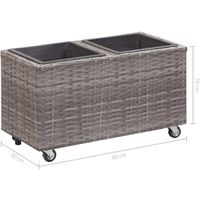 Garden Raised Bed with 2 Pots 60x30x36 cm Poly Rattan Grey