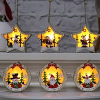 Christmas Tree Wooden Glowing Hanging Decoration Mini Lovely Christmas Gift