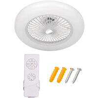 Ceiling Fan with Lighting LED Light Adjustable Wind Speed with Remote Control Without Battery 36W, White