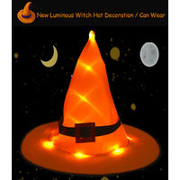 Portable Lighting Hat Halloween Dress Up Hat Luminous Witch Hat, Orange With Buckle