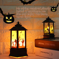 Halloween Simulation Flame Lamp Oil Light House Decoration Props Table Decoration Lamps, pumpkin lamp, small