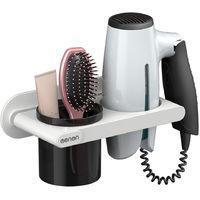 Menen Hair Dryer Holder Wall Mounted Hair Dryer Hanging Rack, Grey , Without Bar