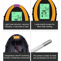Four in one soil detector for measuring soil pH / humidity / soil heat / illumination, Black&Yellow