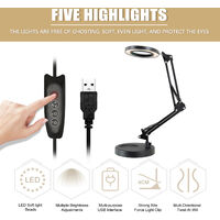 Magnifying glass LED light,ten levels of dimming, 5 times magnification, USB power supply, white base