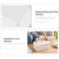Tissue box, white, wooden lid square