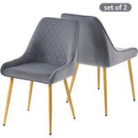 Bedroom Chair,with Golden Legs Grey Velvet with Backrest & Steel Legs Chair1