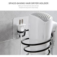 Punch-free wall-mounted blower rack with plug bit, white
