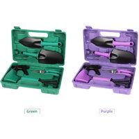 Five-piece garden tool set, dark green