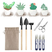 9-piece gardening pruning tool set, succulent potted plants with storage bag