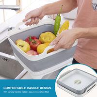 Foldable sink kitchen sink drain basket, vegetable basket storage basket, gray
