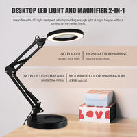 Magnifying glass LED light, ten-speed dimming, 5 times magnification, USB power supply, white clip