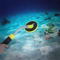 Underwater Metal Detector 100 Feet/30M Fully Waterproof Handheld Pinpointer Pulse Induction Metal Detector with Holster Shovel LED Light and Vibration Alarm,model:Yellow with shovel