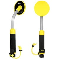 Underwater Metal Detector 100 Feet/30M Fully Waterproof Handheld Pinpointer Pulse Induction Metal Detector with Holster Rake LED Light and Vibration Alarm,model:Yellow with rake