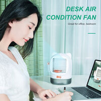 Portable Air Conditioner Fan USB Rechargeable Quiet Desk Fan Evaporative Cooler Fan Humidifier Essential Oil Diffuser with Night Light for Bedroom Office,model:White